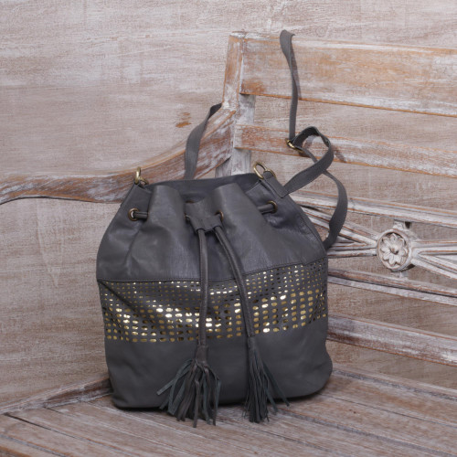 Adjustable Leather Bucket Bag in Graphite from Java 'Glittering Dew in Graphite'