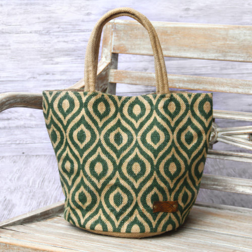 Agel Grass Tote Bag in Natural and Green Pattern 'Peacock Paradise in Green'