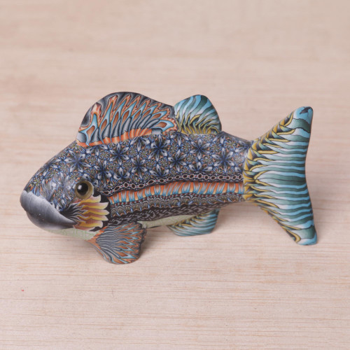 Handcrafted Polymer Clay Fish Sculpture 3.3 Inch from Bali 'Bali Fish'