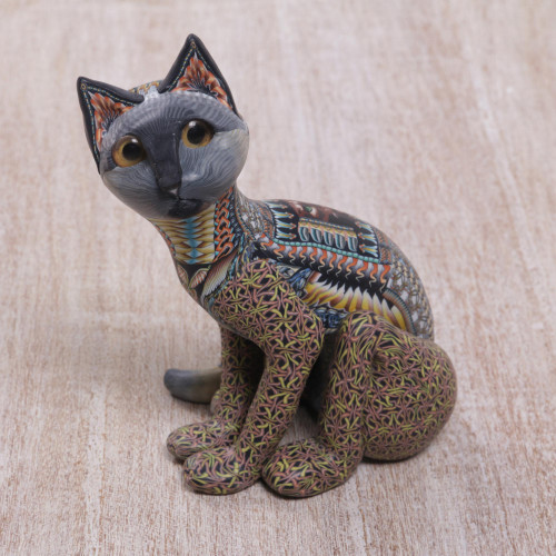 Handcrafted Polymer Clay Sculpture of a Cat from Bali 'Decorative Cat'