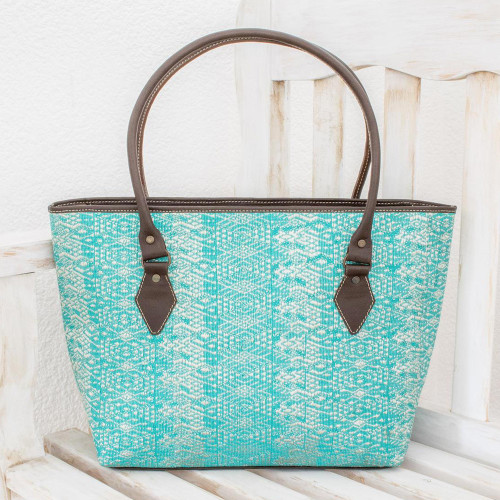 Guatemalan Leather Accent Cotton Shoulder Bag in Turquoise 'Guatemalan Ikat'