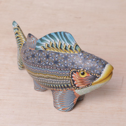 Handcrafted Polymer Clay Fish Sculpture 5.75 Inch 'Bali Fish'