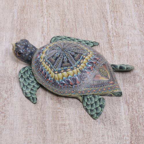 Polymer Clay Sea Turtle Sculpture 4.5 Inch from Bali 'Vibrant Sea Turtle'