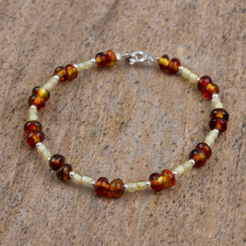 Mexican Amber and Sterling Silver Handmade Beaded Bracelet 'Silver and Spice'