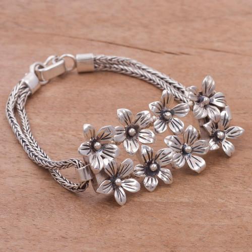 Fair Trade Sterling Silver Floral Bracelet from Peru 'Peruvian Lilies'