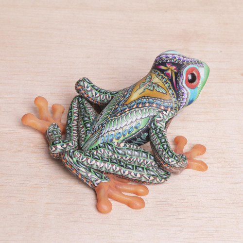 Colorful Polymer Clay Frog Sculpture 4 Inch from Bali 'Vibrant Tree Frog'