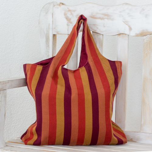 Handwoven Striped Cotton Shoulder Bag from Guatemala 'Horizon Lines'