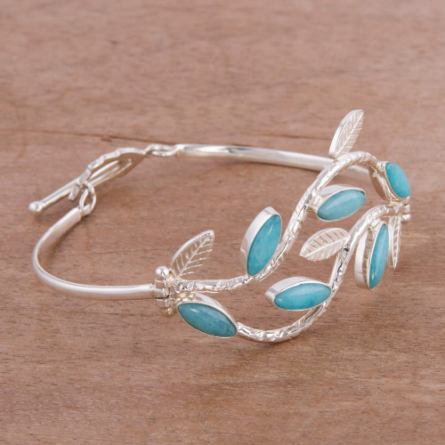 Andean Sterling Silver Handcrafted Amazonite Bracelet 'Blue Dew'