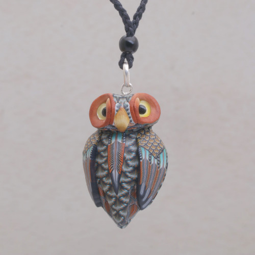 Artisan Handmade Clay Owl Pendant Necklace Cotton Cord 'Charming Owl'
