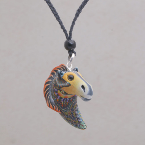Artisan Handmade Polymer Clay Horse Pendant Necklace 'Laughing Horse'
