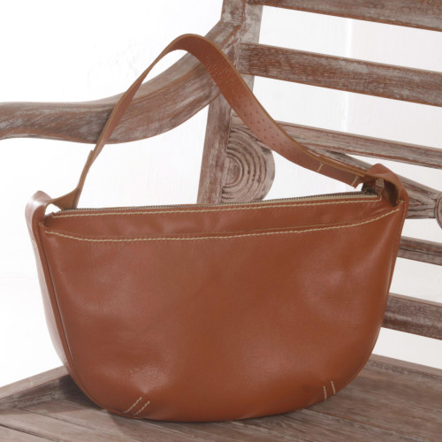 Handmade Artisan Crafted Brown Leather Shoulder Bag Bali 'Adventure Reticule'