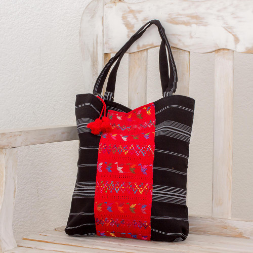 Handwoven Striped Cotton Tote Bag in Black from Guatemala 'Tactic Stripes in Black'