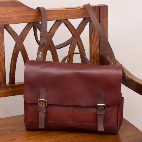 Handcrafted Leather Messenger Bag in Mahogany from Peru 'Vintage Traveler in Mahogany'