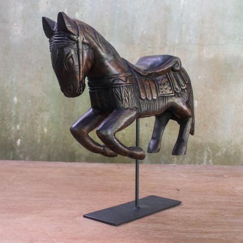 Handmade Wood Horse Statuette from Thailand 'Riding Horse'