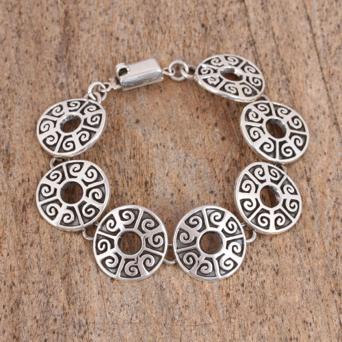 Circular Sterling Silver Link Bracelet from Mexico 'Ancient Ball Game'