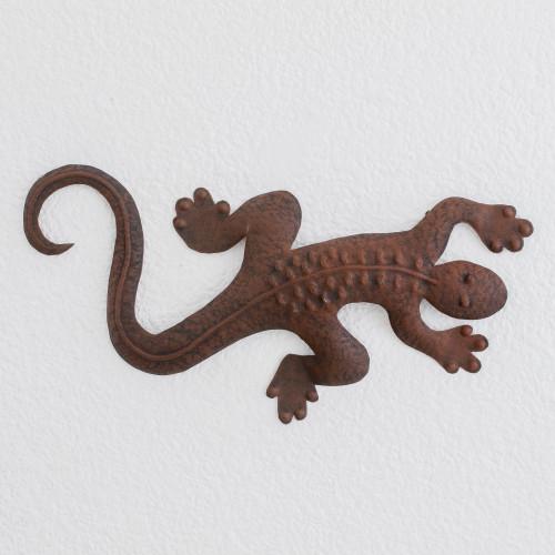 Brown Steel Lizard Wall Sculpture from Guatemala 'Guatemalan Fauna'