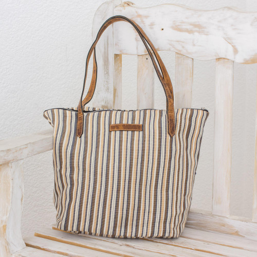 Cream and Brown Striped Hand Woven Cotton Tote Bag 'Modern Cafe'