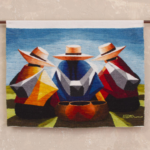 100 Wool Multi-Color Andean Trio Tapestry 'Women's Conversation'