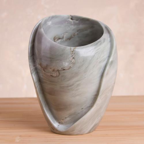 Handcrafted Huamanga Stone Decorative Vase from Peru 'Huamanga Waves'