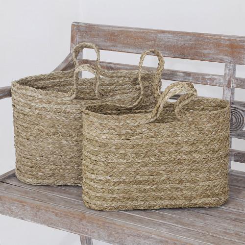 Hand Woven Panadanus Leaf Tote Bags or Baskets Pair 'Rustic Essentials'