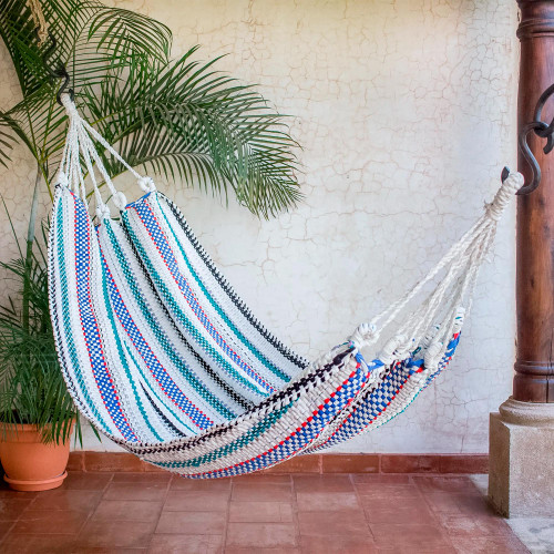 Striped Handwoven Recycled Cotton Blend Single Hammock 'Relaxing Breeze'