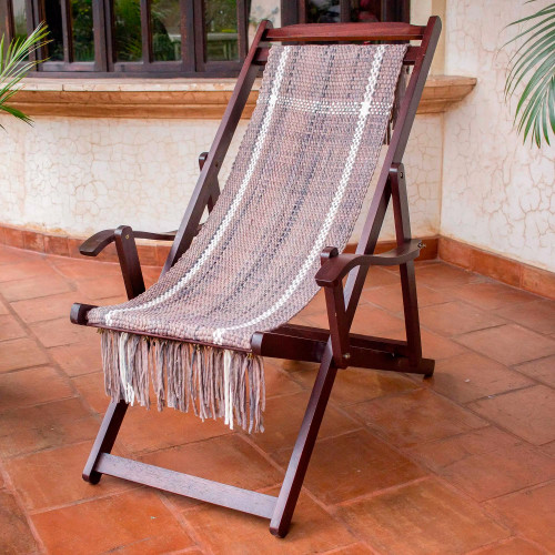 Adjustable Frame Beige Recycled Cotton Blend Hammock Chair 'Seaside'
