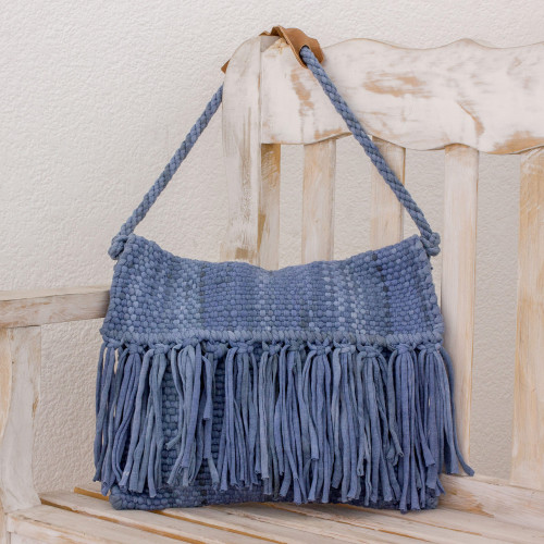 Recycled Cotton Blend Handwoven Cadet Blue Fringed Handbag 'Casual Ease'