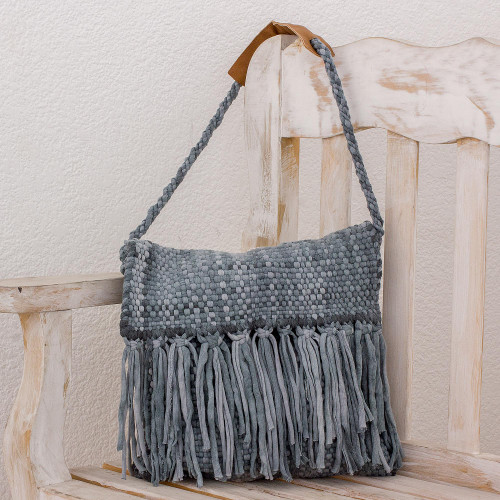 Recycled Cotton Blend Handwoven Grey Fringed Handbag 'Woven Clouds'