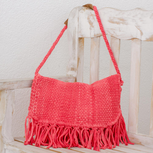 Recycled Cotton Blend Handwoven Bright Pink Fringed Handbag 'Woven Sunrise'