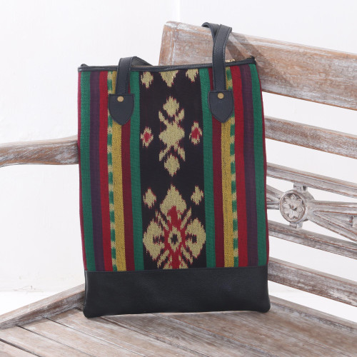 Handcrafted Ikat Jepara Leather Accent Cotton Shoulder Bag 'Joyous Jepara'