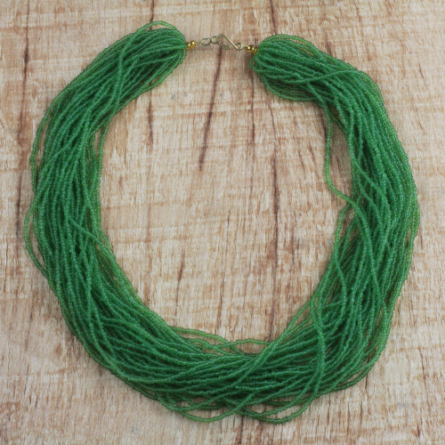 Green Recycled Glass Beaded Necklace from Ghana 'Vivacious Verdant'