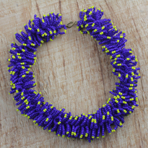 Handcrafted Recycled Glass Beaded Necklace 'Bright Universe'