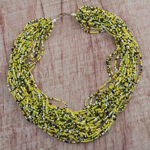Handcrafted Recycled Glass Beaded Necklace from Ghana 'African Paradise'