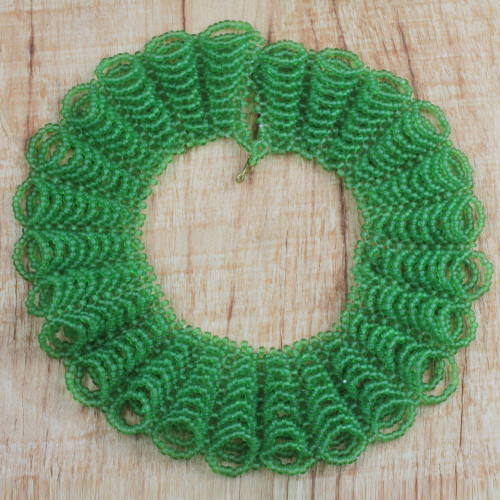 Green Recycled Glass Beaded Statement Necklace from Ghana 'Ghana Dreams'