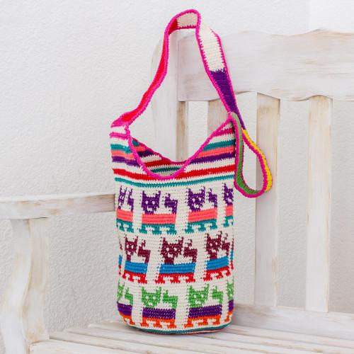Crocheted Cat Motif Cotton Bucket Bag from Guatemala 'Cute Cats'