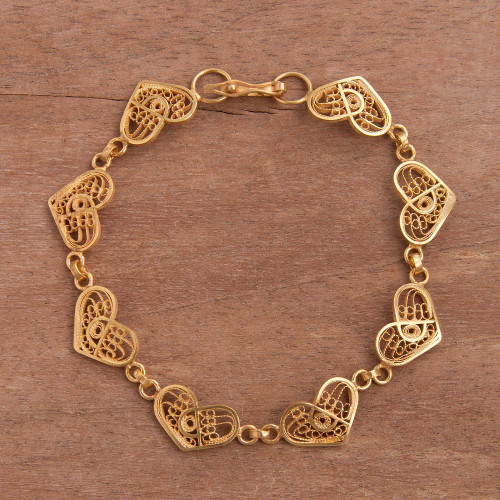 Gold Plated Sterling Silver Filigree Hearts Link Bracelet 'Intricate Hearts'