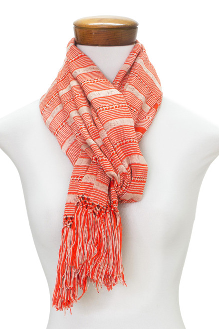 Hand Woven Red Striped Rayon Wrap Scarf from Guatemala 'Sweet Surprise'