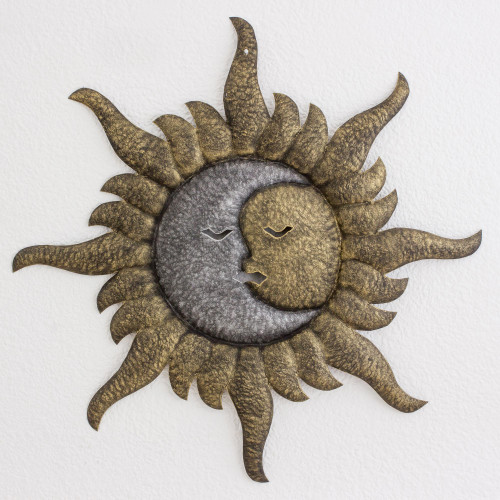Handmade Sun and Moon Steel Wall Sculpture from Guatemala 'Loving Eclipse'