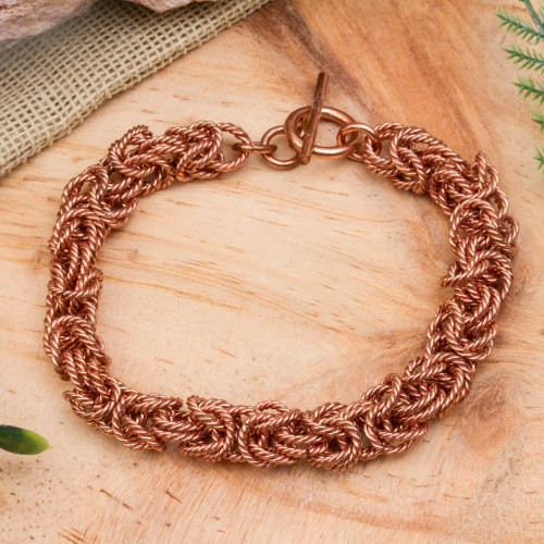 Handcrafted Copper Rope Motif Chain Bracelet from Mexico 'Bright Twist'