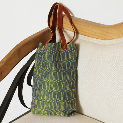 Blue and Green Cotton Tote Handbag with Leather Straps 'Spring Morning'
