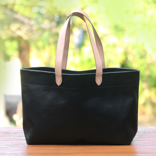 Handcrafted Black Leather Tote Bag with Cream Straps 'Sophisticated Shopper'