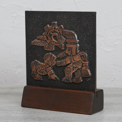 Copper and Cedar Wood Relief Panel of a Pre-Columbian Ritual 'Pre-Columbian Ritual'