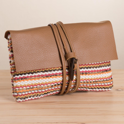 Colorful Stripe Handwoven Cotton Blend Leather Accent Clutch 'Andean Valley Sunset'