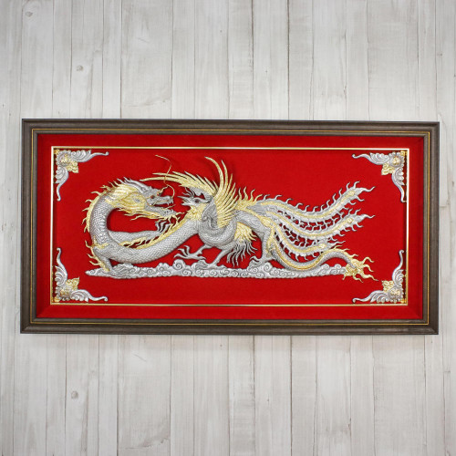 Silver and Red Thai Repousse Panel of Dragon and Phoenix 'Dragon  Phoenix'
