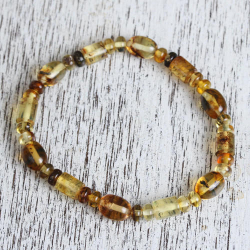 Natural Amber Beaded Stretch Bracelet from Mexico 'Unique Elegance'
