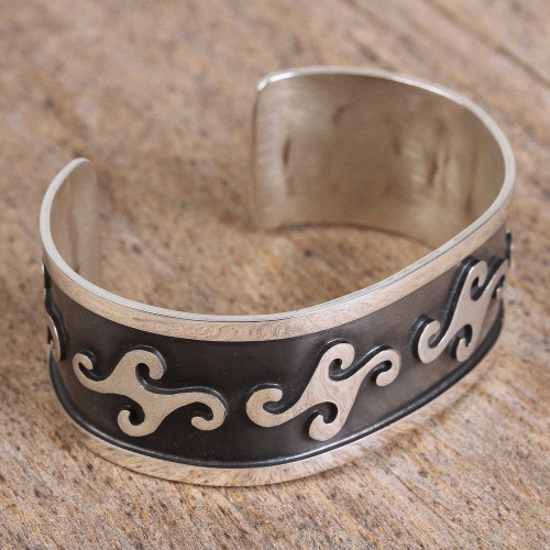Wind Motif Sterling Silver Cuff Bracelet from Mexico 'Wind Texture'