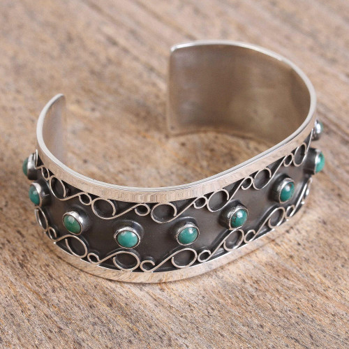 Taxco Natural Turquoise Cuff Bracelet from Mexico 'Taxco Curls'