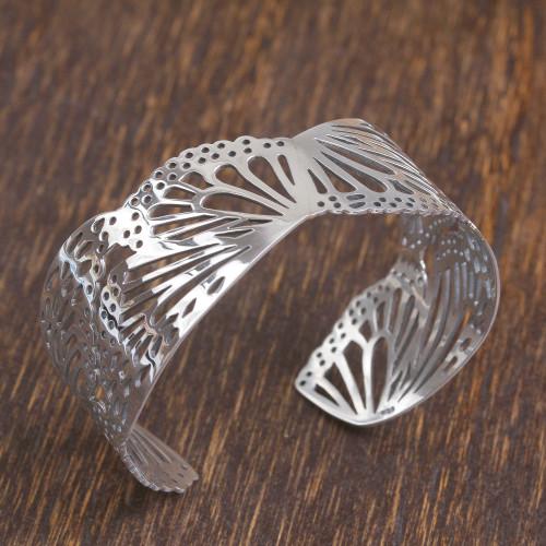 Butterfly Wing Sterling Silver Cuff Bracelet from Mexico 'Monarch Flight'