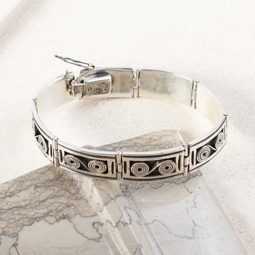 Sterling Silver Spiral Motif Rectangular Link Bracelet 'Infinite Connections'