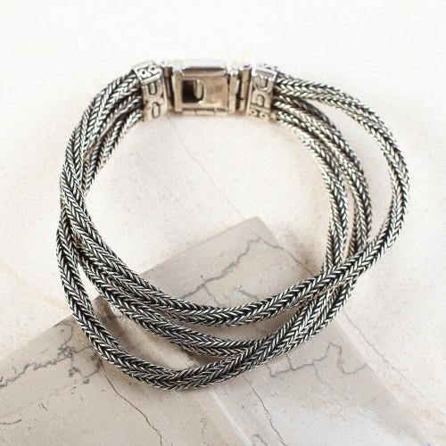 Sterling Silver Torsade Naga Chain Link Bracelet 'River Rows'